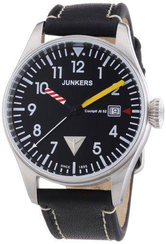Junkers 6144-3 - Reloj analógico de cuarzo para hombre, correa de cuero color negro (agujas luminiscentes, cifras luminiscentes)