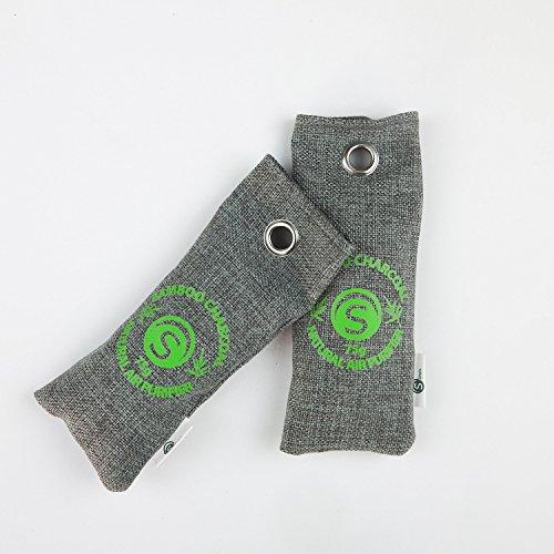 Bambus-Lufterfrischer 2 x 75g | Nachhaltiger & natürlicher Luftreiniger mit Bambus-Aktivkohle-Kissen | Für Schuhe, Schubladen, Schränke