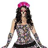 Amakando Korsage Dia de los Muertos Sexy Totenkopf Corsage S 34/36 Korsett La Catrina Halloween Outfit Tag der Toten Calavera Mieder Oberteil Sugar Skull