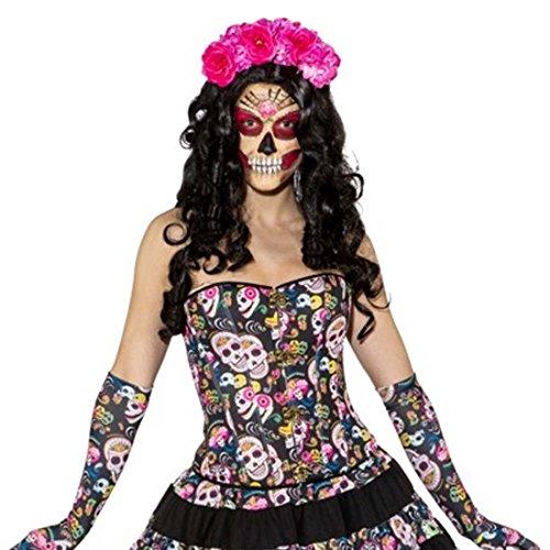 Amakando Korsage Dia de los Muertos Sexy Totenkopf Corsage XL 46/48 Korsett La Catrina Halloween Outfit Tag der Toten Calavera Mieder Oberteil Sugar Skull