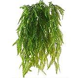 WopenJucy 2 Pcs FarnKünstlich Kunstpflanzen Hängend Hängepflanzen Grünpflanze Kunststoff für Draussen Balkon Topf Hochzeit Garten Deko