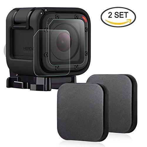 Hapurs Caméra de sport Protège-objectif  et et Lentille Protecteur d'écran, 2 Protecteur d'objectif et 2 Protecteur d'écran en verre trempé pour Gopro Hero 4 Session et 5 Session