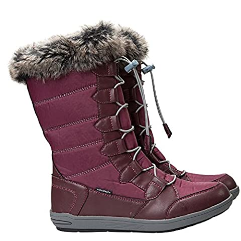 Mountain Warehouse Firbank Women's Snowboots - Waterproof & Highly Breathable with Faux Fur Lining Durable Rubber Outsole & EVA Cushioned Footbed - Great When Out in the Snow Burgundy 4 UK