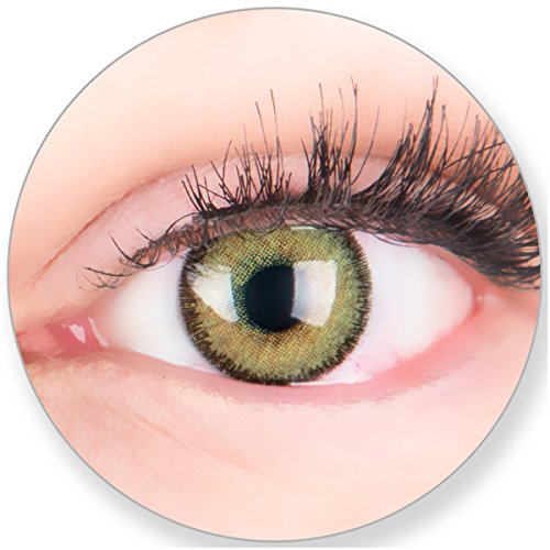 Grüne Kontaktlinsen MIT und OHNE Stärke - für Braune Dunkelbraune und Schwarze Dunkle Augen - mit Kontaktlinsenbehälter. Zwei Farbige Maigrün 3 Monatslinsen 0.0 Dioptrien
