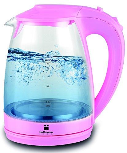 HOFFMANNS 1,7 Liter Glas-Wasserkocher mit LED-Beleuchtung - kabelloser Glaswasserkocher im edlen Design (Pink)