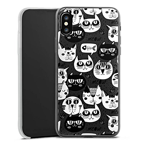 Apple iPhone 8 Slim Case Silikon Hülle Schutzhülle Katzen Comic Muster Silikon Slim Case transparent