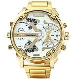 fenkoo Hombre Militar reloj Quartz Calendario/Tiempo Dual zonas Acero Inoxidable Banda Reloj de pulsera Oro (Bronce)