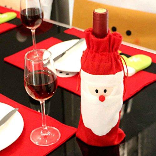 Omkuwl Sacchetti di copertura della bottiglia di vino rosso di Natale del Babbo Natale Decorazione di pranzo di natale