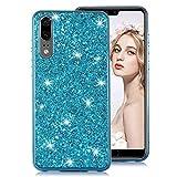 Moiky Bleu Glitter Coque pour Huawei P20,Cristal Placage Étui pour Huawei P20, Luxe 3D Paillette Brillant Strass Diamant Ultra Slim Flexible Soft TPU Silicone Antichoc Housse