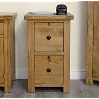 Original Rustic Solid Oak Furniture Two Drawer Filing Cabinet With Locks