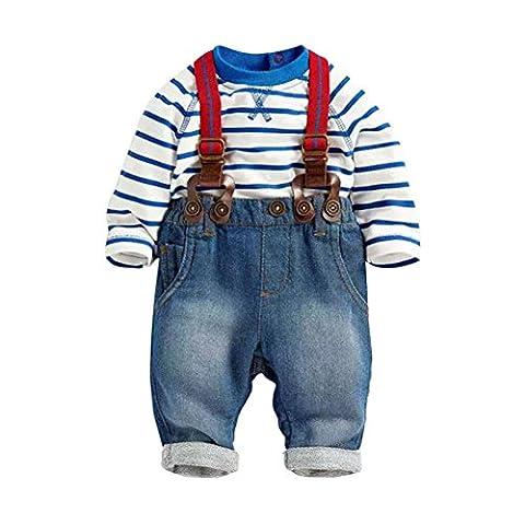 BOBORA Baby Boy 2PCS Set T-shirt Top+Jeans Bib Pants Overall