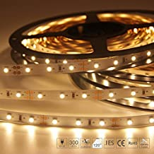 Signcomplex Flexible LED Strip Lights 3528 SMD LED Ribbon with 3M Self-Adhesive Tape 5m a Reel 12V DC (Warm White)