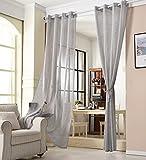 WOLTU® VH5862dgr, Gardinen transparent mit Ösen Leinen Optik, Ösenschal Vorhang Stores Voile lichtdurchlässig Fensterschal für Wohnzimmer Kinderzimmer Schlafzimmer, 140x225 cm, Grau, (1 Stück)