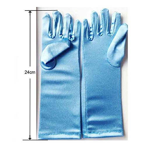 agical Gloves to match the snow queen's costume dress (Children: M, Aqua Blue in Long Length) ()