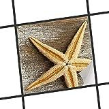 creatisto Fliesenfolie selbstklebend 20x20 cm 1x1 Design Starfish (Natur) Klebefolie Küche Bad