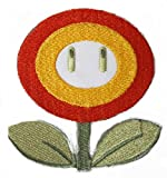 Fire Flower Patch Embroidered Iron on Badge Aufnäher Kostüm Cosplay Mario Kart/SNES/Mario World/Super Mario Brothers/Mario Allstars