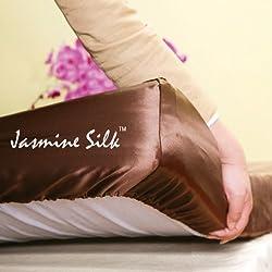 Jasmine seda 100% Mulberry 19MM Charmeuse de seda sábana bajera ajustable (Mocha)–King 150cm x 200cm + 26cm