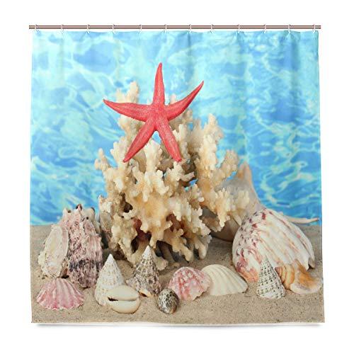 vinlin Ocean Sea Seashell Seestern Wasserdicht Badezimmer Zubehör Vorhang für die Dusche Badewanne Vorhang 182,9x 182,9cm