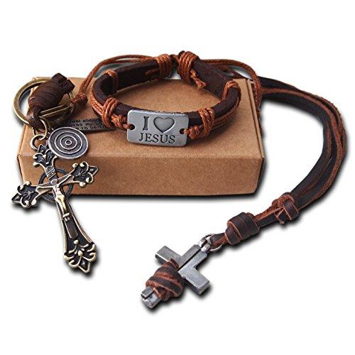 AtlantisForYou-Christian-Genuine-Jesus-Christ-Leather-Set-with-Holy-Cross-Necklace-Bracelet-and-Holy-Cross-Keychain-Original-Faith-Religious-Catholic-Gift-Key-Ring-Christmas-Gift