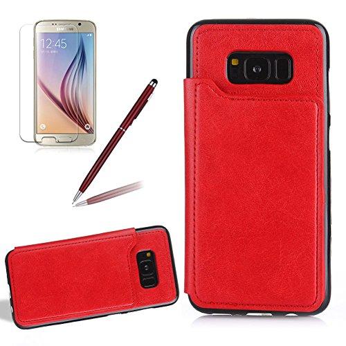 Preisvergleich Produktbild Girlyard Lederhülle für Galaxy S7 Edge mit Kartenfach Entwurf,  Premium PU Flip Wallet Case Anti-Rutsch Stoßfest Schutzhülle für Samsung Galaxy S7 Edge - Rot