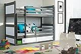 RICO 2 lits superposés Gris 200 x 90 avec matelas RockSolid &P