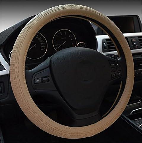 Ruirui Universal Anti Slip Microfiber Leather Auto Car Steering Wheel Cover 15 inch/38cm Stable Heat Resistant , warm rice