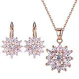 Veuer Schmuck für Damen Set Hals-Kette und Ohrringe Rosè-Gold Vergoldet Zirkonia Geschenk zu Weihnachten für Frauen, Freundin, Ehe-Frau