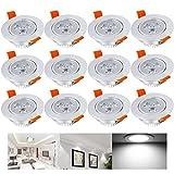 Hengda® 12er 3W LED Deckenstrahler Kaltweiß Spot Lampe Treppe Küchen Decke Einbau Spots Strahler mit Travo Einbauleuchten