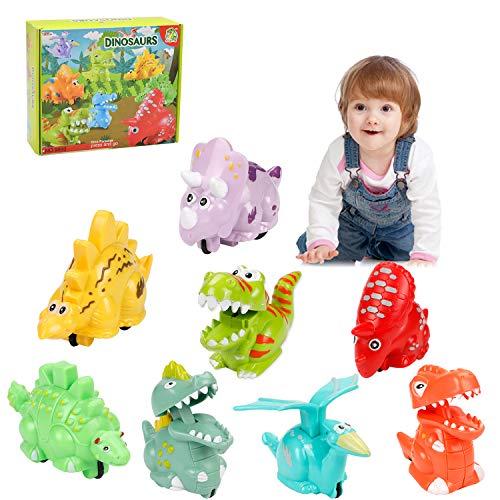 Babyhelen Dinosaurier Auto Spielzeug Kinder, 8er Set Dino Spielzeugauto Zurückziehen Fahrzeug Partyspiele Geschenk für Jungen Mädchen Kleinkind - Kinder Für Dinosaurier-spielzeug