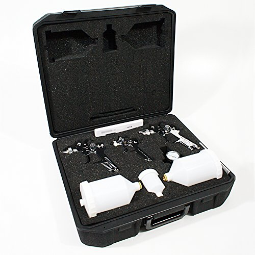 Preisvergleich Produktbild HVLP 3 Lackierpistole Spritzpistole im Koffer Set mit Zubehör Düsen 1.7 / 1.4 / 0.8mm