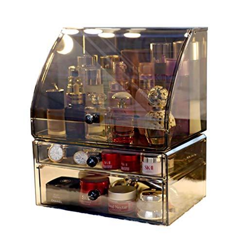Boîte de Rangement pour Bijoux Cosmétiques Rouge À Lèvres Boîte de Rangement pour Organisateur de Maquillage Avec Cache Anti-poussière (2 Tiroirs)
