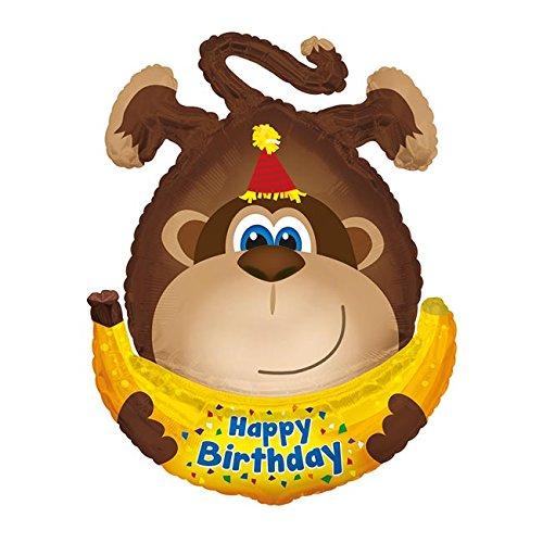 Folienballon * AFFENPARTY * zur Deko bei Kindergeburtstag und Motto-Party // Affe Banane Dekoration Ballon Helium Folien Kinder