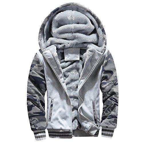 Lucky mall Männer M-4XL Winter warme Fleece-Mantel, Kapuze Zipper Sweater Jacke Outwear, Herren Winterkleidung Plus Samt Camouflage Sportbekleidung Große Schlanke Warme Jacke - Lucky-jersey Sweatshirt
