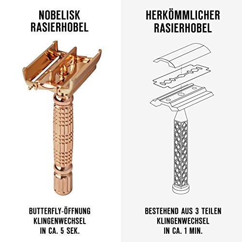 Nobelisk Premium Rasierhobel mit 5 Rasier-Klingen | Sehr scharfer Nassrasierer...