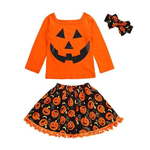 ❤ 3pcs neonata halloween completini ❤ manica lunga cartoon stampa t-shirt cime + nappa ricamo zucca gonna fascia bambina vestiti (arancione, 3 anni)