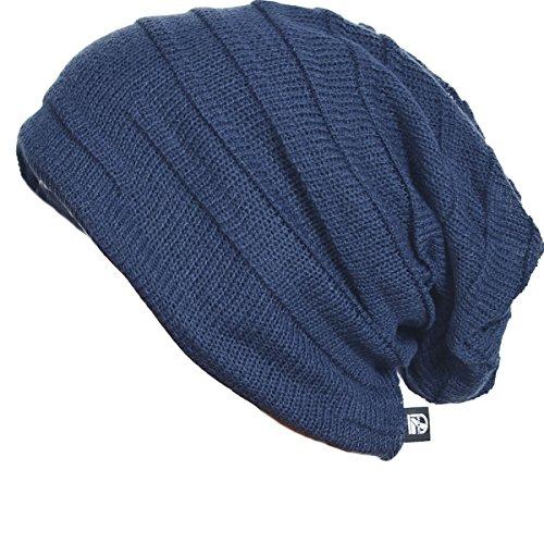 Gorro caído, boina de lana holgada de moda para hombre, Hombre, color azul marino, tamaño Taille unique
