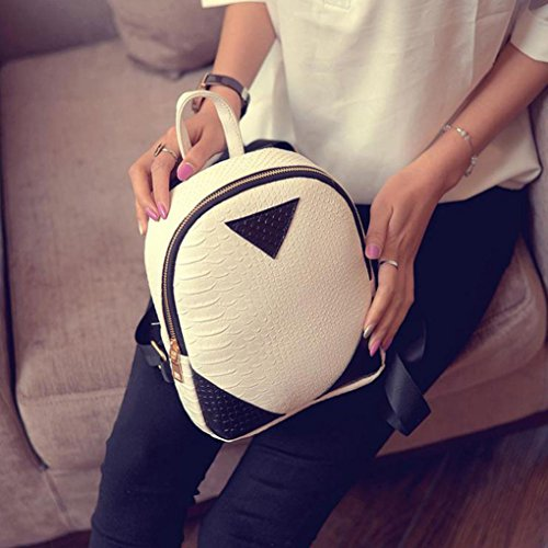 Internet Simple Femmes & Fille sac à dos Polyester concis Serpentine Mini sac à dos Blanc