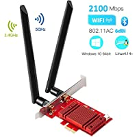 Hommie AC 2100Mbps+Bluetooth 5.0 PCI-E WiFi Card with Heat Sink, IEEE 802.11AC 5GHz/2.4GHz Dual Band PCI WiFi Adapter Wireless Network Interface Card Gigabit Adapter for Win10 Linux 4.14+ (WIE9260)