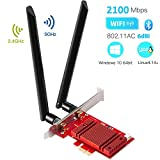 Hommie Carte Réseau Wi-FI avec Bluetooth 5.0 Adaptateur PCI Express Double Bande 2.4 GHz/5GHz sans Fil Intel 9260AC 2033Mbps Carte Gaming PCIE Wireless pour PC Supporte Windows 10 64bit/Linux4.2+