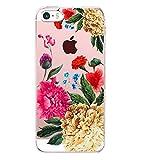 Vanki Coque iPhone 5/5S/SE, Simple Motif Noir et Blanc Housse Transparente, Housse...