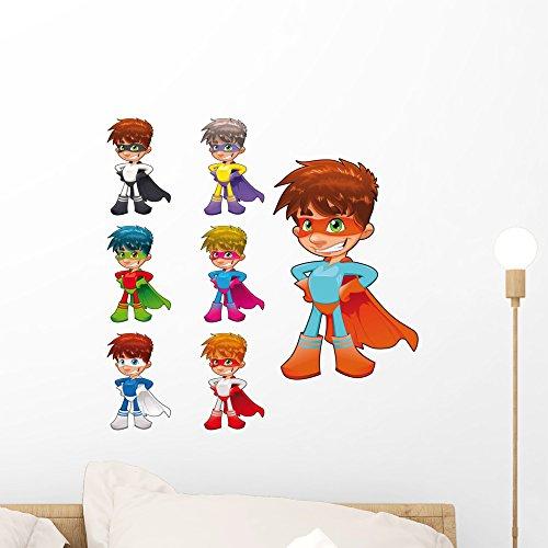 (Young Superhelden Funny Cartoon Wand Aufkleber von wallmonkeys Abziehen und Aufkleben Graphic (18in H x 18in w) wm122810)