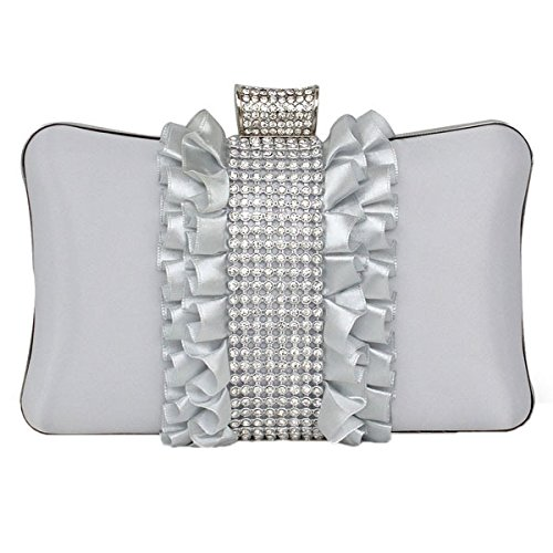 Moda Donna Borsa Del Partito E Frizione Di Cerimonia Nuziale Silver