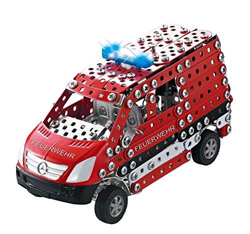Tronico 10042 - Metallbaukasten Feuerwehr Mercedes Benz Sprinter mit Licht und Sound, Maßstab 1:32, Mini Serie, rot, 508 Teile
