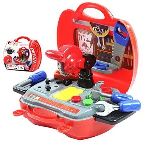 Happy Cherry Kinder Spielzeug Werkzeukasten Werkzeugset Reparatur-Set Kind Rollenspiele Werkzeugsortiment Im Klappkoffer Children's Learning Resources Pretend & Play Teaching Simulation Toolkit - Rot