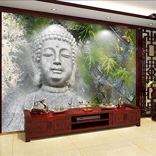 Wuyyii Benutzerdefinierte Tapete Handbemalte Buddha Kopf Ginkgo Blätter Wohnzimmer Wand Benutzerdefinierte Großes Wandbild Grüne Tapete Wandbild-200X140Cm