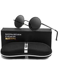 399f1bb59c2 NEEPA John Lennon Vintage Round Polarized Hippie Sunglasses Small Circle  Metal Driving Sun Glasses (Grey