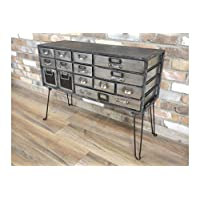 DOWNTON INTERIORS Industrial Style Black Grey Silver Distressed Storage Cabinet Chest of Drawers (D5222) ** Full Range of Matching Furniture is Available**