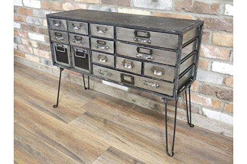 DOWNTON INTERIORS Industrie-Stil Schwarz Grau Silber Used Schrank Kommode (d5222) * * Gesamte Serie der Passenden Möbel ist Erhältlich * *