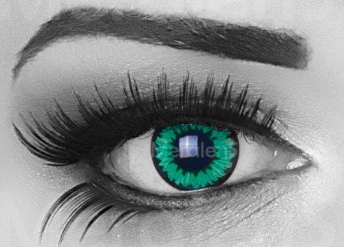 Meralens A0372 Green Flower Kontaktlinsen mit Pflegemittel mit Behälter ohne Stärke, 1er Pack (1 x 2 (Kostüme Lustige Haloween)