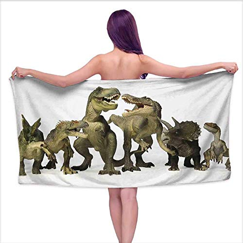 BHWYK Kids Premium Polyester Extra Large Bath Towel Set Dinosaurs T-Rex Jurassic 3D Dino Fossil Art Design History Bathroom Hand Towels Set W 30